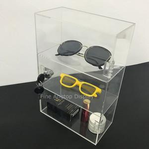 Caja de almacenaje del gabinete de la vitrina de las gafas de las gafas de sol de acrílico de 3 compartimientos con la tapa con bisagras