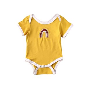 2020 лето младенец Одежда новорожденных ребёнок Вышивки Радужных Комбинезоны с коротким рукавом Bodysuits игровой одежды
