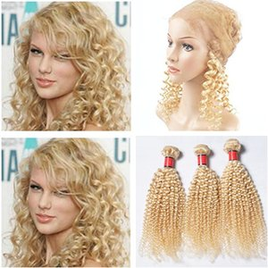 Kinky Curly péruvienne Blonde homme Tissages cheveux avec 360 Lace Frontal Pre plumé # 613 Blonde 360 de dentelle Frontal Fermeture avec 3Bundles
