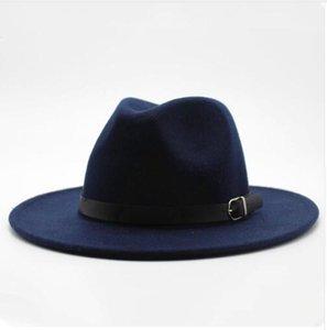 Autunno Inverno Imitazione di lana delle donne degli uomini signore delle fedore del cappello superiore di jazz rotonda europea americani Caps Bowler cappelli 2020 nuovo
