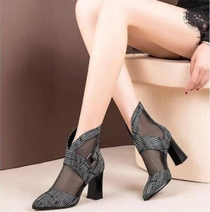 Screen boots female hollowout new spring and summer mesh bald head sandals female high heels large size shoes sandals