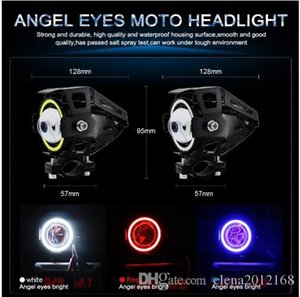 2PCS 125W Faróis da motocicleta com halo Angel Eyes Motorbike holofotes U5 U7 LED Moto Driving carro Nevoeiro Ponto Head Light Lamp DRL