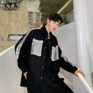Erkek Kişilik Payetli Gece Kulübü Gömlek Gotik Patchwork Gevşek Fit Uzun Kollu Casual Erkekler Siyah Üst Kore Moda Erkek Giyim