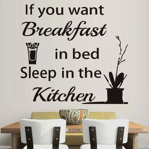 1 Pcs Kitchen Wall Sticker Sleep In The Kitchen Quote Sayings Vinyl Wall Decals Orange Juice Decorative Wall Stickers Free Shipping