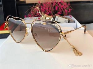 Новые модные солнцезащитные очки 131 металлическая пустотелая оправа в форме сердца, светлые линзы uv400 высшего качества с бахромой в авангардном стиле
