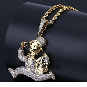 Hip Hop Iced Out Cartoon Running Clown Pendant Necklace Micro Paved Zircon Star Gold Chain Men Jewelry