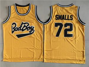Película barata Camisetas de baloncesto Bad Boy Notorious Big 72 Biggie Smalls Jersey Hombre Deporte Todo cosido Color amarillo de primera calidad En venta