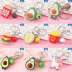 1PCS Lovely Funny Silicone Unicorn Hamburger Pendants Keychain For Women Men Bell Charms Bag Key Holder Keyrings