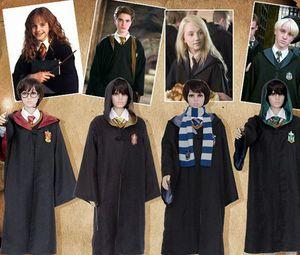 Harry Potter Cosplay robe Gryffindor Manto Ravenclaw Slytherin Hufflepuff Halloween Cosplay partido Roupa Robe Criança tamanho adulto KKA7870