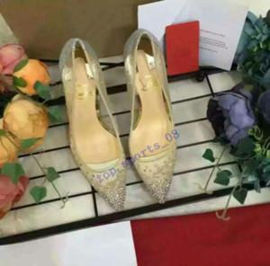 2019 Горячая весна лето Элегантные стили женской обуви на высоких каблуках Rhinestone кристаллы заостренный носок сетки насосы женщина красной подошвой свадебные туфли
