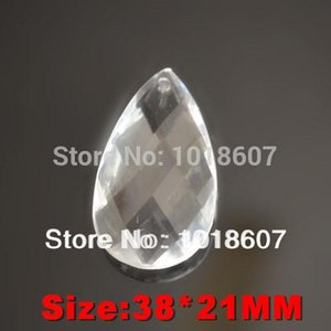 Promoción! 50PCS 38 * 21MM talladas cristal claro de la lágrima de la gota del agua, corte Prisma que cuelgan la joyería pendiente de la lámpara de pieza de acrílico del grano