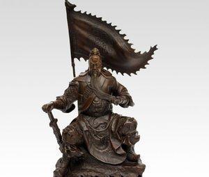 10''China Bronz Şövalye Warrier Asker Guangong Tutma Kılıç Ejderha Bayrak Anıtı
