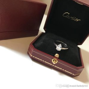 C Soleste pera anillos joyas de diseño de lujo del diamante del anillo del amor marca de fábrica famosa boda del contrato original de la caja de regalo anillo de plata 925