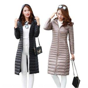 Winter Women's hooded Warm lengthened light down jacket women's over-knee warm down jacket coat