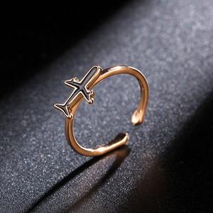 MKENDN Qualitäts-silberne Rose Gold Farbe Flugzeug Flugzeug Flugzeug justierbar für Frauen öffnen Finger-Ring-Partei Unique Jewelry