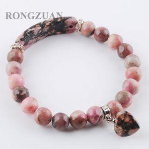 Forma pulseras del estiramiento de la piedra preciosa rebordea alrededor Natural Rodocrosita Strand brazaletes Corazón colgante de joyería de las mujeres del regalo del amor DK3314