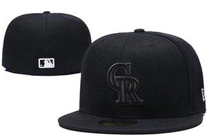 2020 Мужская Скалистых гор CR в полном черный цвет Размер Встроенная Flat Шляпы Letter Логотип Вышитые Размер шапки Hip Hop Дизайн Baseball Полный Closed Cap