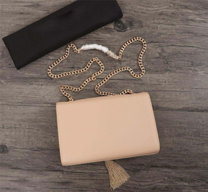 Высокое качество небольшие сумки через плечо для женщин кисточкой 22 * 16 * 5 см натуральная кожа цепь сумка дизайнер топ тотализаторы для дам