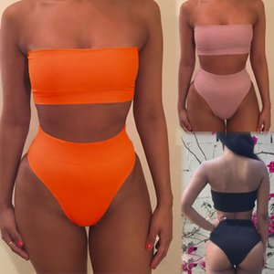 Bikinis Set 2021 HIRIGIN Kadın Mayo 2 adet Yüksek Bel Bikini Push Up Sutyen Katı Mayo Mayo Boyutu S-XL 6 Renkler