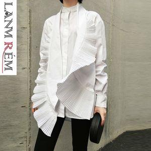Lanmrem 2019 Frühjahr Neue Frauen Unregelmäßiges Hemd Lässige Mode Plissee Dekorative Weiße Blusen Weibliches Design Frauen Kleidung Yg638 J190615