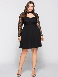 Plus Size casual Abbigliamento 6XL Womens pizzo nero di squadra di estate Abiti Collo linea knee-lunghezza femminile Abbigliamento