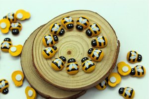 Wood Yellow Bee Insect Mini Craft Miniature Fairy Garden Home Decoration Houses Micro Landscaping Decor Wholesale Cheap