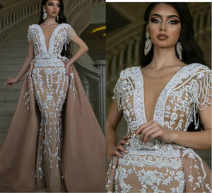 Dubai Africa Mermaid Evening Dresses with Detachable Train Illusion V Neck Beading Tassel Lace Appliques Gorgeous Short Sleeve Pearls