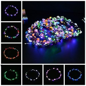 Flashing LED Strings Glow Flower Crown Headbands Light Party Rave Floral Hair Garland Luminous Wreath Wedding Flower Favor RRA2622