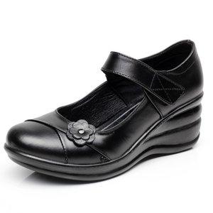 Gktinoo Genuíno Couro Deslizamento Em Sapatos de Caminhada Sapatos Mulher Plataforma Casual Mulher Sapatos Femininos Chaussure Femme Cunhas