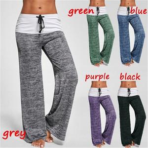Kadın Yaz Geniş Bacak Rahat Rahat Pijama Pantolon İpli Palazzo Lounge Pantolon Geniş Bacak Yoga Pantolon
