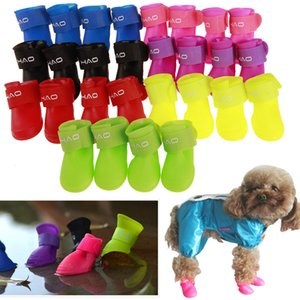 4шт / комплект Pet дождь обувь собака силикон Противоскользящих дождь сапоги конфета цвет Животные Водонепроницаемая обувь Puppy день дождь Wear Эфирный