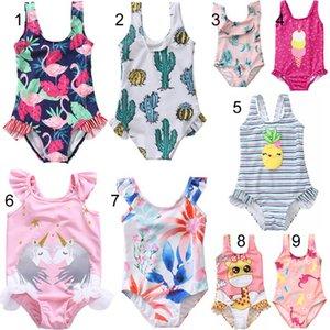 Lolita baby girl Designer Bikini Unicorn Flamingo Flower One Piece Bikini swimwear summer Girl swimsuit Beach Bikini fast shipping