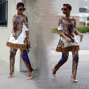 BAIBAZIN Africano roupas Africano roupas dashiki lazer lazer dois conjuntos calças casaco Mulher roupas impressão