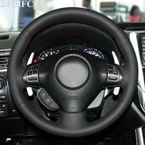 Schwarz-Leder-Handgenähtes Auto-Lenkrad-Abdeckung für Subaru Forester 2008-2012 Impreza 2008-2011 Vermächtnis 2008-2010 Exiga 2