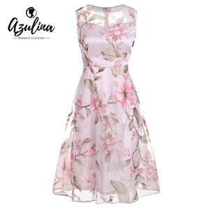 Azulina vintage pembe çiçek baskı dress kadınlar retro kolsuz a line midi organze dress 2017 sheer yaz bayanlar vestidos