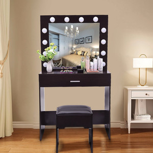 2020 New Vanity Set With Lighted Mirror Cushioned Stool Dressing Table Bedroom Vanity Makeup Table Hot Free IN STOCK 47 Deliver