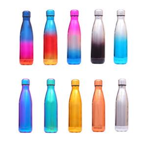 Dieci graduali bottiglie di colore elettrolitico coke doppia parete coibentata vuoto bottiglie in acciaio inox acqua adatta per gli sport outdoor, 500ml