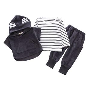 2019 Çocuk giyim Suit Pamuk Ürünleri Erkek Kız Kapüşonlu Yelek Üç parçalı Bahar Ve Sonbahar Çocuklar Setleri Bebek Giysileri