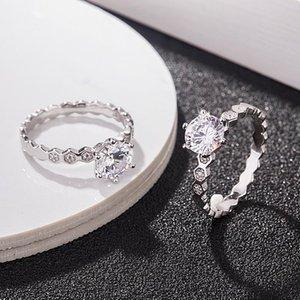S925 стерлингового серебра шестигранные алмазные соты комбинированное кольцо микро-инкрустированные полный Алмаз корейская мода All-match Honeycomb кольцо Manufact