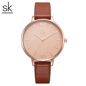 Vigilanza delle donne Donne Orologi Shengke di lusso in pelle di marca orologio da polso di modo delle signore di Ginevra orologio al quarzo Relogio Feminino Nuovo SK