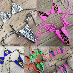 Halter Micro Bikini Thong треугольник купальник женский купальный костюм леопардовый неоновый бикини нажимает сексуальные купальники женщины 2019 новый