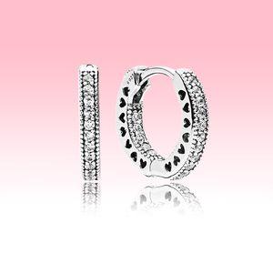 ريال 925 فضة تشيكوسلوفاكيا الماس هوب القرط مع المربع الأصلي ل باندورا النساء أقراط مجوهرات عالية الجودة