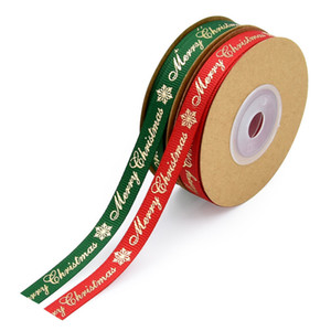 10Yards 1mm Grosgrain Ribbon Merry Christmas Ribbon DIY Hairbows Accessories Materials Festival Party Decoration Gift Package