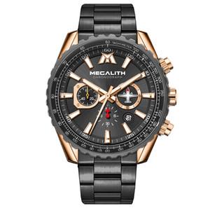 Megalith Sport Watch Men Aircraft Pointer Calendário Masculino Relógio completa Aço Waterproof Série Piloto relógio de quartzo Relógio Masculino
