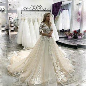 Bohemian Illusion Scoop Neckline Wedding Dresses Lace Appliques A-line Floor Length Party Dress Bridal Gowns Formal Plus Size B60