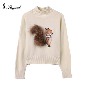 Suéter de cachemira Suéteres y suéteres de invierno de Fox con cola de piel real Pull Femme Manche Longue 2018 Sudaderas navideñas