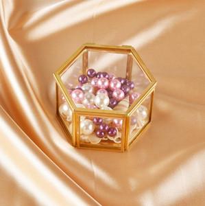 Jóias de vidro caixa de armazenamento Ornamentos Jewel Casket anel de casamento Container desktop Tabletop suculentas plantas decorativas