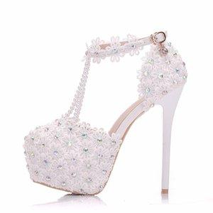 Lace Summer High Sexy Sandals Heel Shoes Wedding Plateform Fashion High Pumps Party Women Shoes Flower Sandals Fsmep