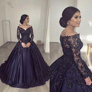 Темно-синие атласные платья Quinceanera Платья с длинными рукавами и кружевными аппликациями Блестки с открытыми плечами Sweet 16 Платье vestidos de quinceañera