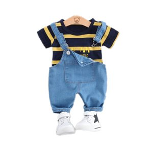 Summer Baby Girls Boys Clothing Toddler Casual Fashion Infant Clothes Suits T Shirt Strap Shorts 2Pcs Sets Kids Children Costume CX200530
